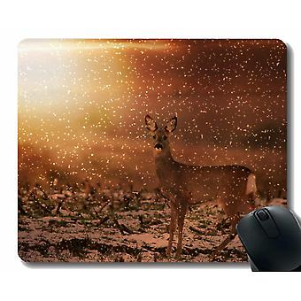 Mouse pads 220x180x3 mouse pad with red deer field meadow -stitched edges