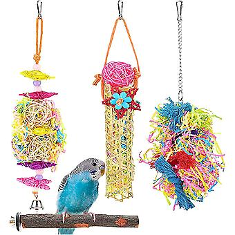 4psc Bird Toys Feeding Bird Toys Parrots Colorful Chew Crusher Bite Toys Bird Cage Hanging Decor With Wooden Bells Stand For Parrots Small