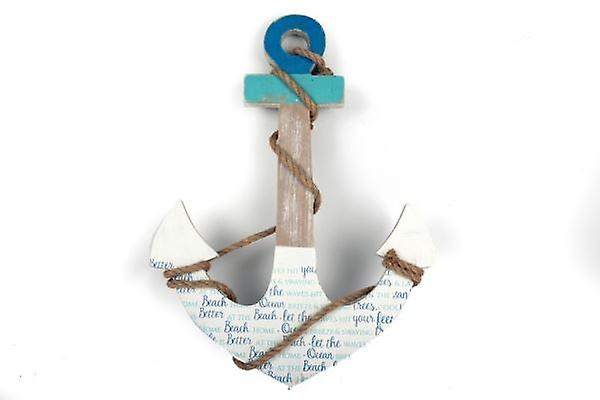 46CM ANCHOR SHAPE WOODEN WALL HANGING OCEAN WAVES ORNAMENT NAUTICAL HOME DECORATION