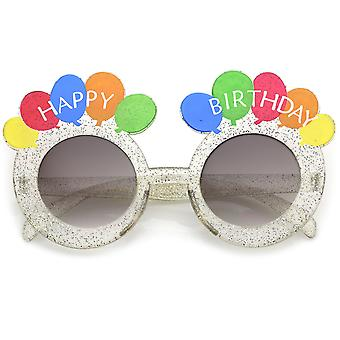 Novelty Translucent Glitter Happy Birthday Glasses With Balloons Round Lens 45mm