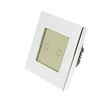 I LumoS Silver Brushed Aluminium 2 Gang 1 Way Remote Touch LED Light Switch Gold Insert