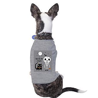قميص القطة الرمادية هيكل عظمى هالوين لطيف الرسومات الصغيرة الأليفة قميص