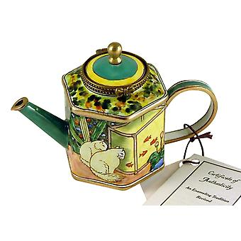 Cats Watch Fish Enameled Hinged Miniature Teapot