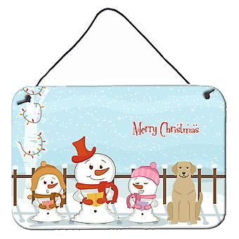 Merry Christmas Carolers Yellow Labrador Wall or Door Hanging Prints