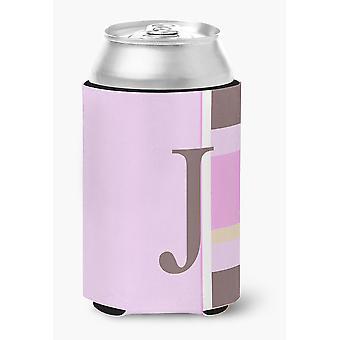 Letter J Initial Monogram - Pink Stripes Can or Bottle Beverage Insulator Hugger