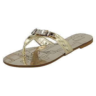 Ladies Nature Breeze Flat Jewelled Toepost Sandals F0364