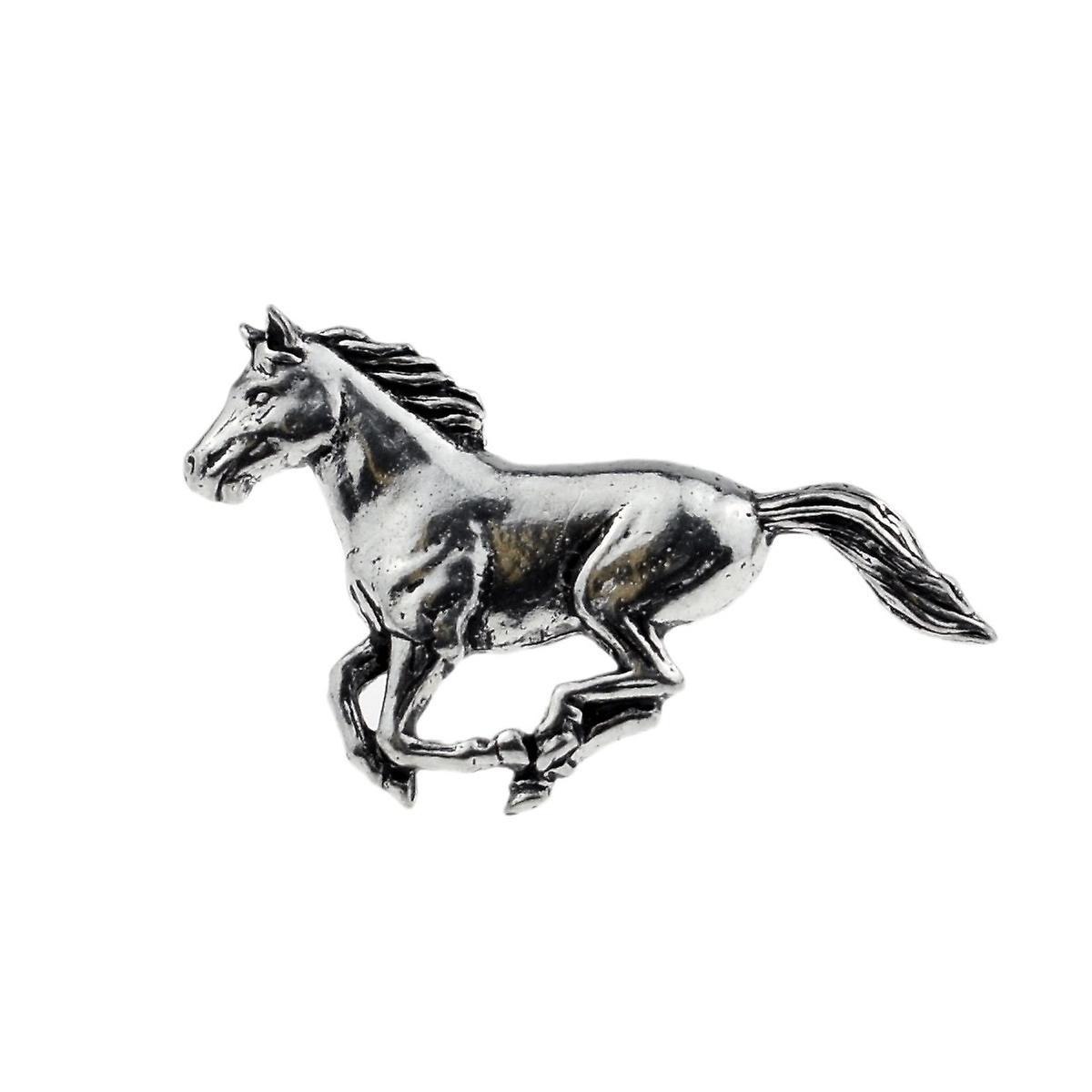 Running Horse English Pewter Lapel Pin Badge