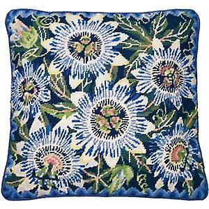 Bleu Passion Fleurs Tapisserie Toile