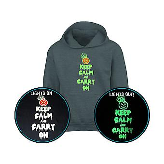 Keep Calm & Carry On GLOW IN THE DARK Halloween Kids Hoodie 10 Colours (S-XL) by swagwear