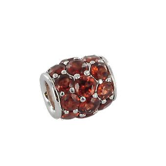 Shipton and Co Ladies Shipton And Co Silver And Garnet Pave Barrel Charm DQA243GR