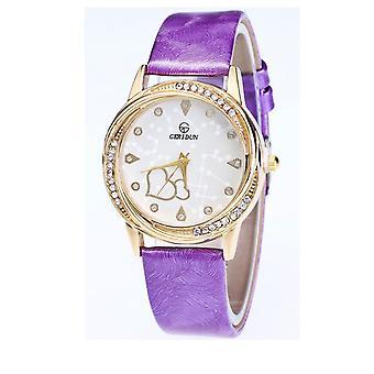 Chic coeur or jaune Watch pourpre amour clair temps élégant