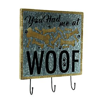 Rustic Metal On Wood Dog Lovers Wall Sign With Hooks