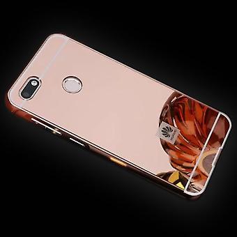 Miroir / miroir en aluminium pare-chocs 2 morceaux avec housse rose pour Huawei Y6 Pro 2017 / profiter 7 couvercle de sac