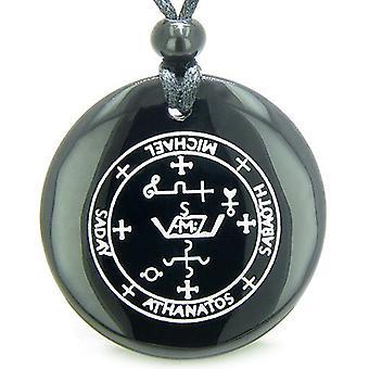 大天使ミカエル魔法のお守りブラックオニキス魔法の精神的な力のペンダント ネックレスの印章