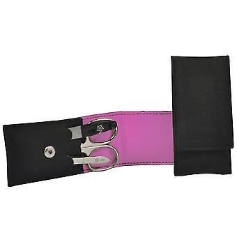 Pfeilring Maniküretui VEGAN schwarz pink 3-teilige Bestückung Maniküre Set
