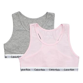 Calvin Klein Girls 2 Pack Modern Cotton Bralette Grey / Pink