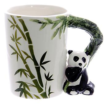 Panda Cup 3D omgaan met bamboe witte, bedrukt, 100% keramische, in geschenkverpakking.
