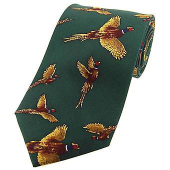 David Van Hagen flyvende fasaner land silke slips - land grøn