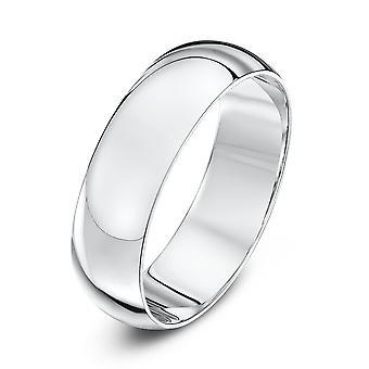Anneaux de mariage Star 18ct or blanc Heavy D 6mm bague de mariage