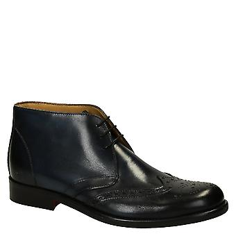 Dark blue calf leather men's wingtip dress boots