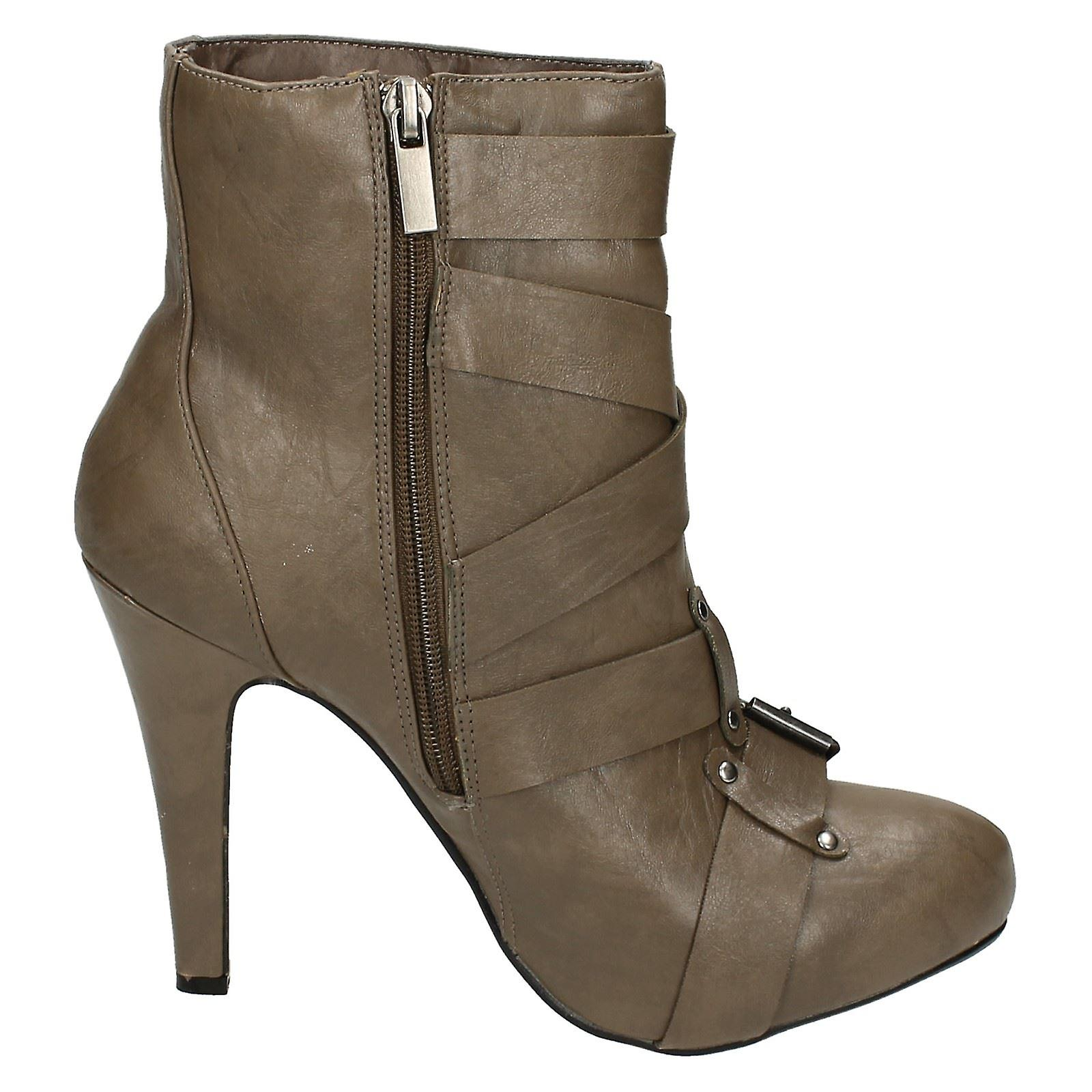 Ladies Spot On Buckle Strap Ankle Boots