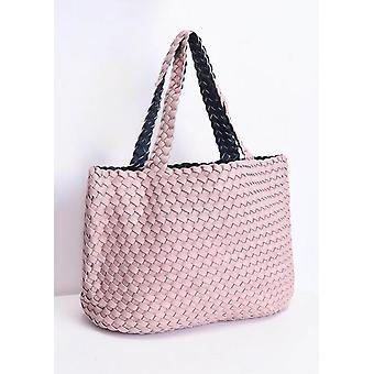 Reversible gewebte Shopper Tasche Pink