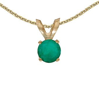 LXR 14k Yellow Gold Round Emerald Pendant 0.19 ct