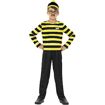 Where's Wally Odlaw Costume, Black & Yellow, with Top, Trousers, Hat, Moustache & Glasses