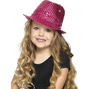 Light Up Sequin Trilby Hat, Pink, with Multi-Function LED Lights