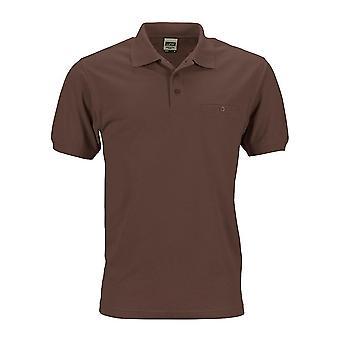 James og Nicholson Mens Workwear Polo lommen skjorte