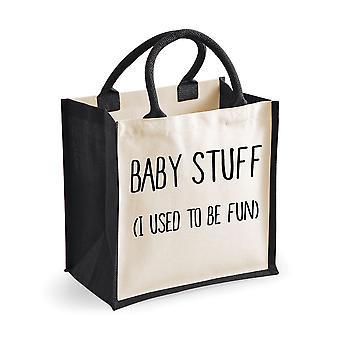Średniej jutowe torba Baby Stuff, Zwykłem być zabawa czarny