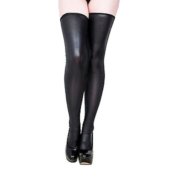 Ehrung von Damenschlitzen & Sexy Stocking in Wetlook Black Lingerie Zip, PVC