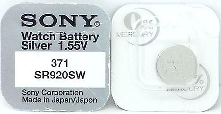 Sony 371 (sr920sw) 1.55v Silver Oxide (0%hg) Mercury Free Watch Battery - Made In Japan