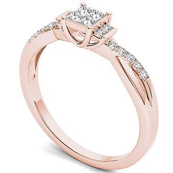 Igi certifierad 14k steg guld 0,25 ct prinsessa cut diamant klassisk förlovningsring