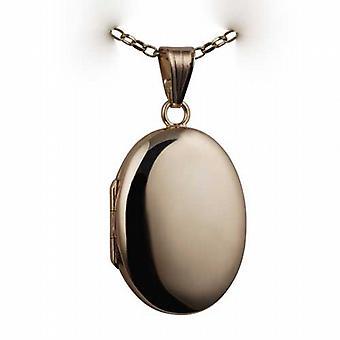 9kt guld 27x20mm plain oval lås med en belcher kæde 24 inches