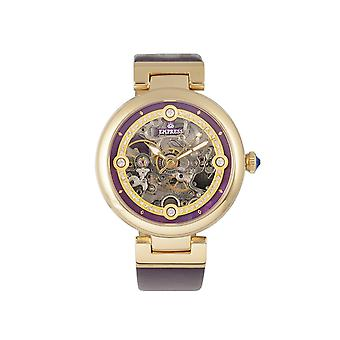Empress Adelaide Automatic Skeleton Leather-Band Watch - Purple