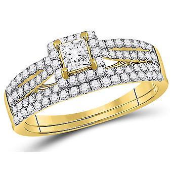 1.00 Carat (Color G-H, I1) Princess Cut Diamond Engagement Ring Wedding Set in 14K Yellow Gold