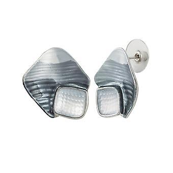 Eeuwige collectie Cavalcade grijs Multi glazuur zilveren Toon Stud doorstoken oorbellen