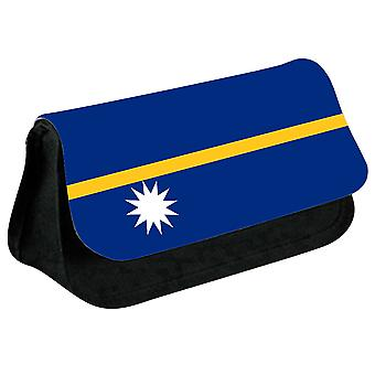 Nauru Flag Printed Design Pencil Case for Stationary/Cosmetic - 0122 (Black) by i-Tronixs