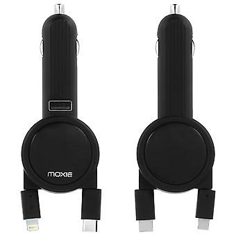 Moxie Car Charger Type C Retractable Cables / Micro USB / Lightning - Black