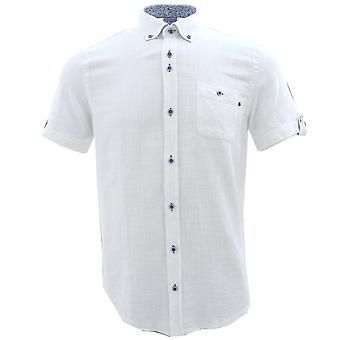 Guide London Blue Floral Trim Pure Cotton Short Sleeve Mens Shirt