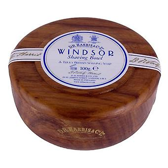 D R Harris Wooden Shaving Bowl + Soap 100g-Windsor-Mahogany effect