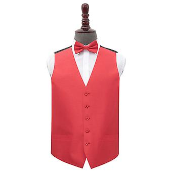 Red Plain Shantung Wedding Waistcoat & Bow Tie Set