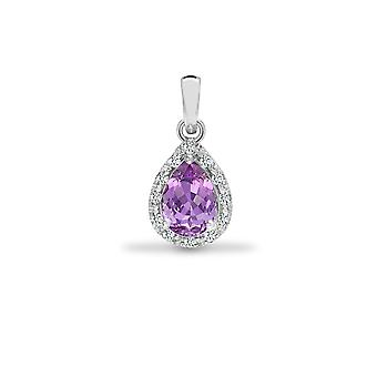 Jewelco London 9ct White Gold Claw Set 0.06ct Diamond and Pear Purple 0.75ct Amethyst Happy Tears Halo Cluster Pendant