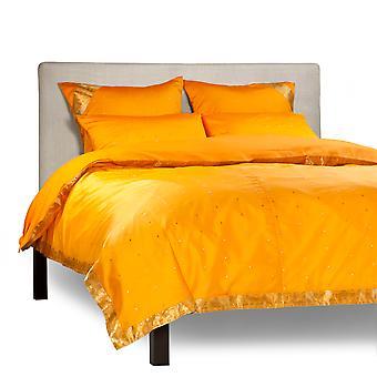 Kürbis - 5 Stück handgefertigten Sari Duvet Cover-Set mit Kissen-Abdeckungen / Euro Schein