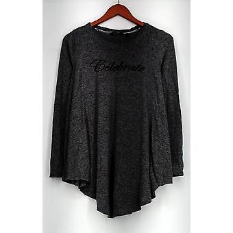 Anybody Sweater Brushed Hacci Message Rounded Hem Gray A292756