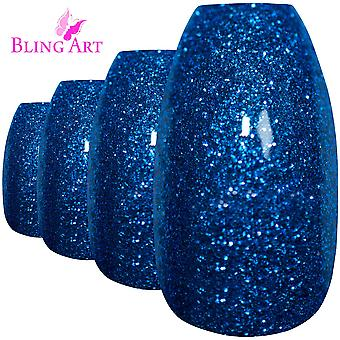 False nails by bling art blue gel ballerina coffin 24 fake long acrylic tips