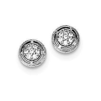 925 Plata esterlina Pave pulido abierto espalda CZ Zirconia cúbica simulada diamante redondo postes pendientes regalos de joyería para Wo
