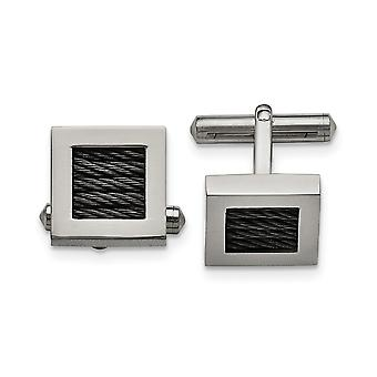 Stainless Steel Polished Black Ip plated Wire Cuff Links Jewelry Gifts for Men
