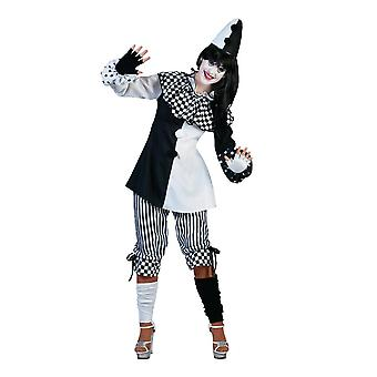 Costume Harlequin Lady Clown Women's Costume Top Pants Carnival Carnival Costume Black white